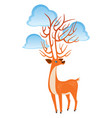bright orange fairy deer with clouds on the horns vector image vector image