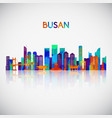 busan skyline silhouette in colorful geometric vector image vector image