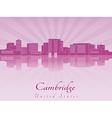 Cambridge skyline in purple radiant orchid vector image vector image
