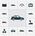 car icons set collection of auto car plug and vector image vector image
