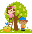 children picking pears under a pear tree vector image vector image