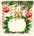 christmas background with baubles and label vector image vector image