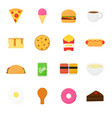 colorful food icons set - pizza burger ice cream vector image vector image