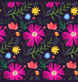 contrast floral summer pattern of rich colors vector image