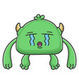 crying green goblin cartoon monster vector image vector image