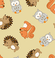 Cute forest animals in a seamless pattern vector image