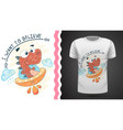 dino and ufo - idea for print t-shirt vector image vector image