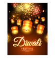 diwali festival poster with flying lanterns vector image
