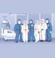 doctors in hospital medical workers wearing vector image vector image