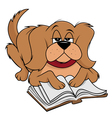 dog fluffy reading vector image