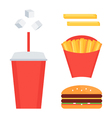 Fast food set french fries soda cheeseburger vector image