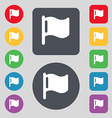 flag icon sign A set of 12 colored buttons Flat vector image vector image