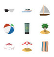 flat icon summer set of yacht boat spectacles vector image vector image