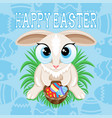 for happy easter with easter bunny vector image vector image