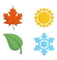 four colored icons with seasons vector image vector image