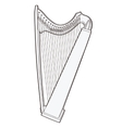 Gothic lever celtic harp isolated on white vector image vector image