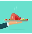 Hand holding serving tray with roasted meat hot vector image
