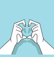 hands with shaped heart vector image