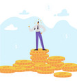 happy businessman character with pile money vector image