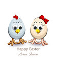 happy easter card with cute eggs chicken funny vector image vector image