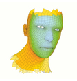 head person from a 3d grid human head vector image vector image