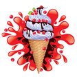 Ice cream with berries and chocolate vector image vector image