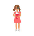 little girl in dress in virtual reality glasses vector image vector image