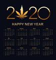 marijuana calendar for 2020 vector image vector image