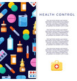 medicine banner design with bright flat icons vector image vector image