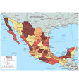 mexico map with selectable territories vector image vector image