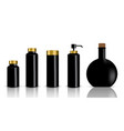 mock up realistic black and gold cosmetic bottles vector image vector image