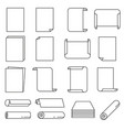 paper icon set in thin line style vector image vector image