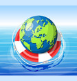 planet earth getting lifebuoy ring vector image vector image