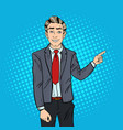 pop art businessman pointing finger on copy space vector image