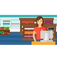 Saleslady standing at checkout vector image vector image