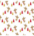 seamless christmas deer pattern vector image