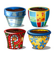 set bright stylish ceramic flower pots isolated vector image vector image