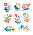 set cute cartoon flowers vector image vector image