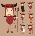 Set of devil characters poses