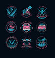 set vintage logos for surfing club vector image vector image