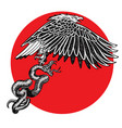 snake and eagle red logo design vector image
