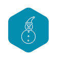 snowman icon outline style vector image vector image