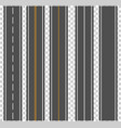 template set of straight asphalt roads vector image
