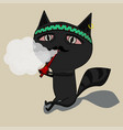 the cat clears a pipe shaman cute black cartoon vector image vector image