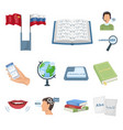 translator and linguist cartoon icons in set vector image vector image