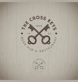 two cross keys pub logo vector image vector image