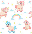 unicorn pattern seamless texture with fairy tale vector image vector image