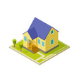urban cottage exterior simple isometric house vector image vector image