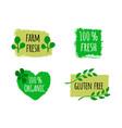 vegan menu set of bio healthy food logos badges vector image vector image