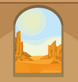 view of the desert from the window vector image